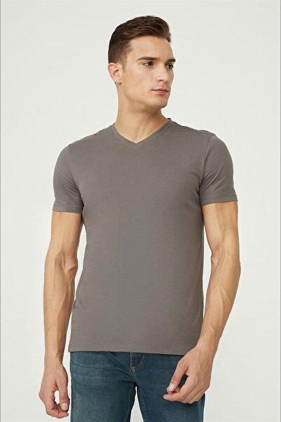 Avva Erkek Antrasit V Yaka Düz T-shirt E001001