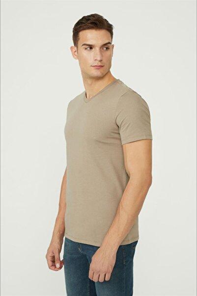 Avva Erkek Vizon V Yaka Düz T-shirt E001001