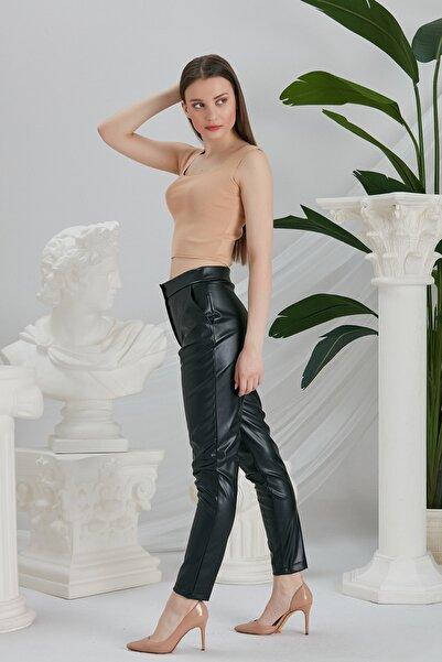 CATSPY Kadın Siyah Deri Pantolon