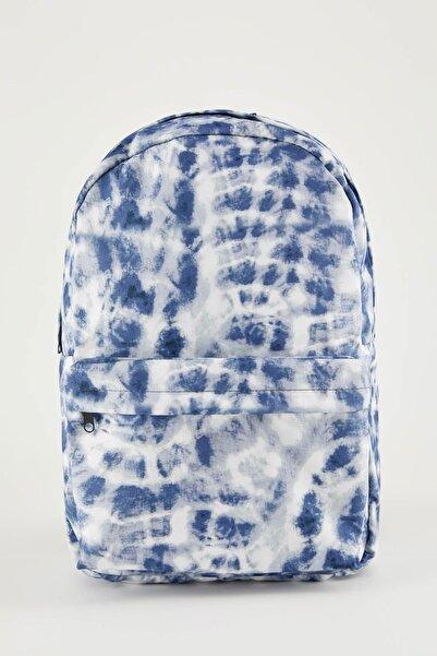 DeFacto Kadın Mavi Batik Desenli Sırt Çantası