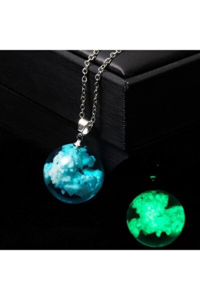AlpCollection Fosforlu Mavi Bulut Neon Karanlıkta Parlayan Küre Zincirli Kolye