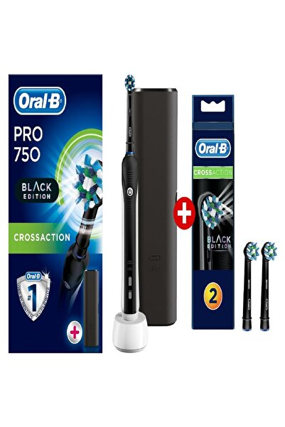 Oral-B Pro 750 Şarjlı Siyah Diş Fırçası +2'li Yedek Siyah Başlık