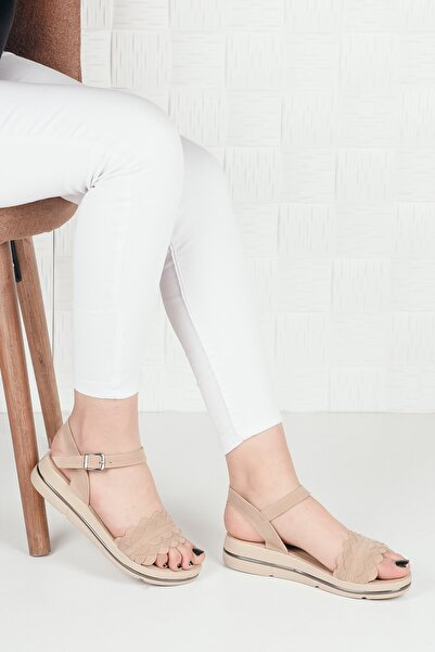 Weynes Kadın Krem Süet Çiçekli Terlik Sandalet Ba20295