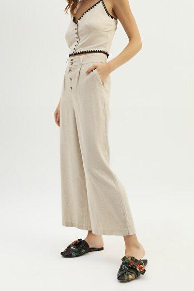 Quzu Kadın Naturel Keten Bol Pantolon