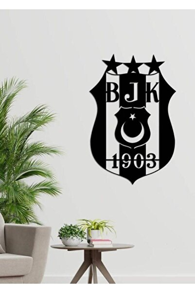 RetroLazer Beşiktaş Arması 50x35cm Siyah Ahşap Lazer Tablo Mdf
