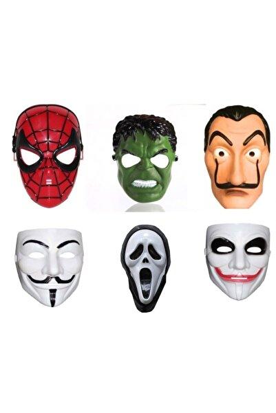 Limitless Trade 6 Adet Maske Örümcek Adam Hulk Salvador Vandetta Çığlık Ve Joker Maskesi