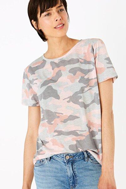 Marks & Spencer Kadın Gri Desenli Yuvarlak Yaka T-Shirt T41008975
