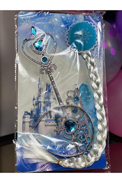 QUEEN AKSESUAR Yeni Karlar Ülkesi Frozen Elsa Prenses Model Çocuk Örgü Çıtçıt Saç Toka Taç Asa 3 Lü Hediye Set Mavi