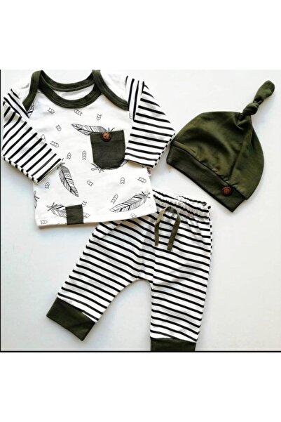 Beren Kids Şık Baskılı Şapkalı Bebek Alt Üst Takım