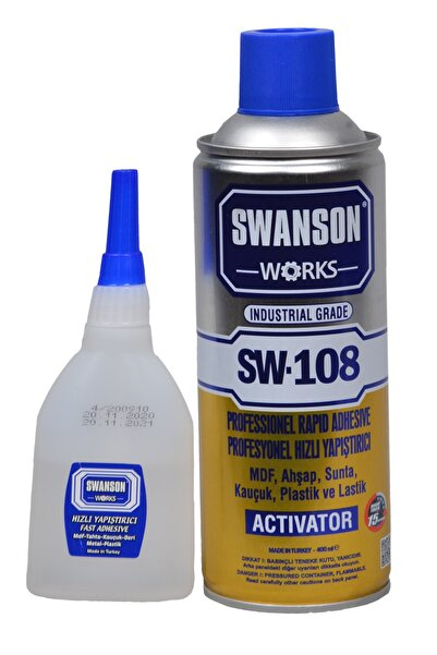 SWANSON Mdf Kit Profesyonel Hızlı Yapıştırıcı Seti 400+100 Ml - Ahşap, Sunta, Kauçuk, Plastik