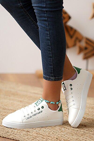 Pembe Potin Kadın Beyaz Yeşil Sneakers