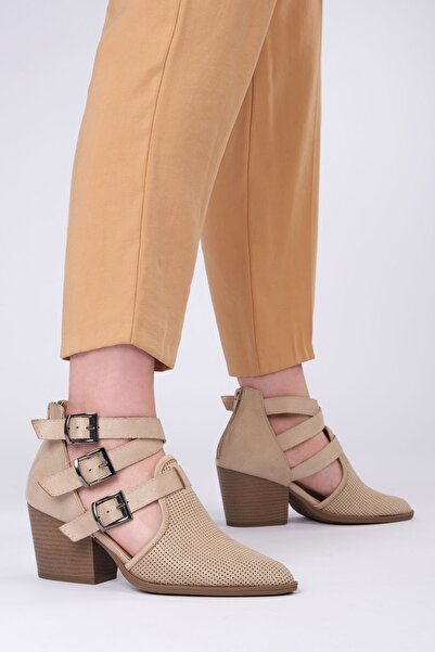 Marjin Bej Süet Kadın Neson Topuklu Ayakkabı 19Y00016LD0192