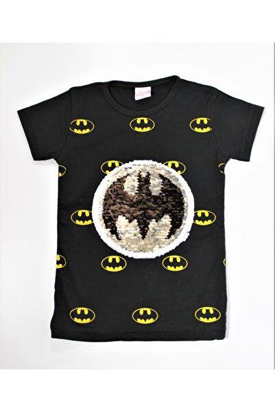 MARVEL Erkek Çocuk Siyah Batman Pullu T-shirt