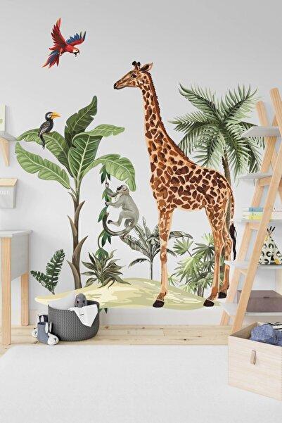 MSticker Safari Tropikal Hayvanlar Ve Ağaçlar Çocuk Bebek Odası Duvar Sticker