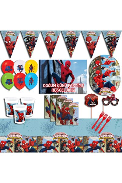 SPIDERMAN Örümcek Adam Afişli  Doğum Günü Parti Malzemeleri Seti 24 Kişilik