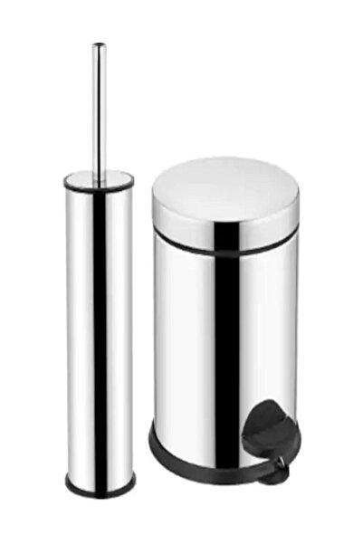 Micro Krom 2'li Set 5lt Pedallı Çöp Kovası Wc Klozet Fırça Seti