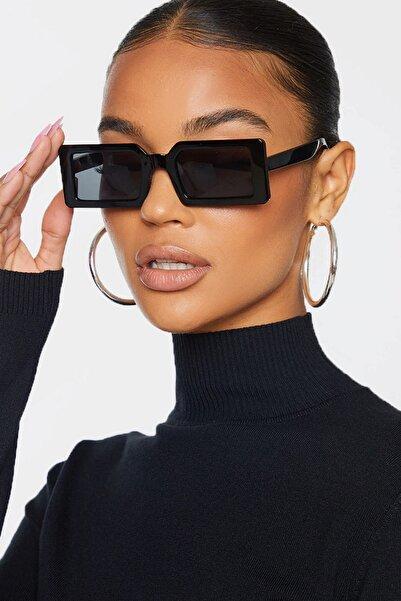 Hane14 Kadın Siyah Jaded Küçük Kare Güneş Gözlüğü