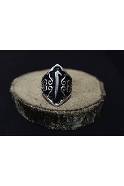 BGRcollection Okçu Yüzüğü/ Zihgir Yüzük Elif Işlemeli Gümüş Kaplamalı Ayarlanabilir