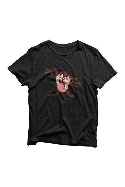 MİGMOOLS Unisex Siyah Tazmanya Canavarı Baskılı Tişört