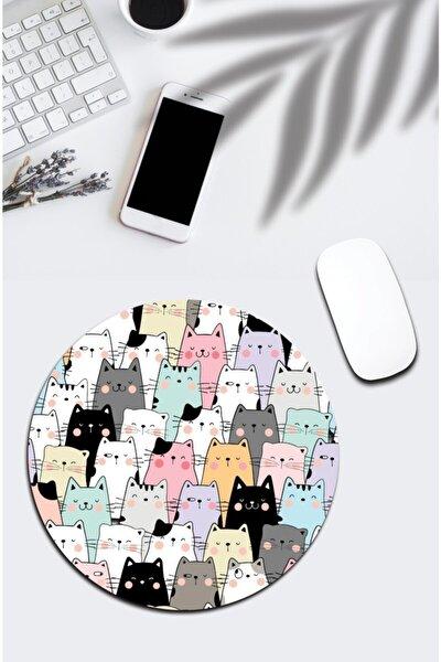 pixolog Karışık Renkli Kedili Yuvarlak Mouse Pad 850