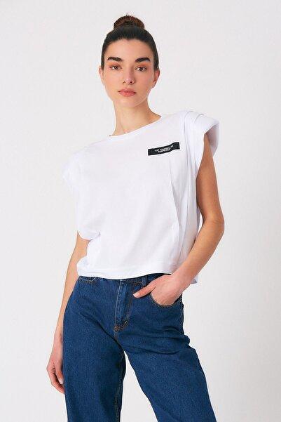 Robin Kadın Beyaz Vatkalı Yazılı Tshirt
