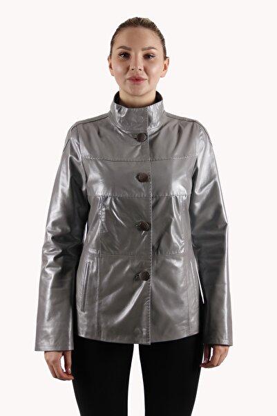 Leather Club Metalik Gri Deri Ceket