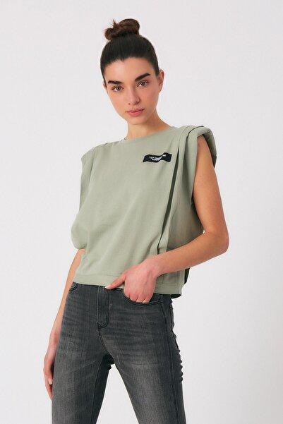 Robin Kadın Yeşil Vatkalı Yazılı Tshirt