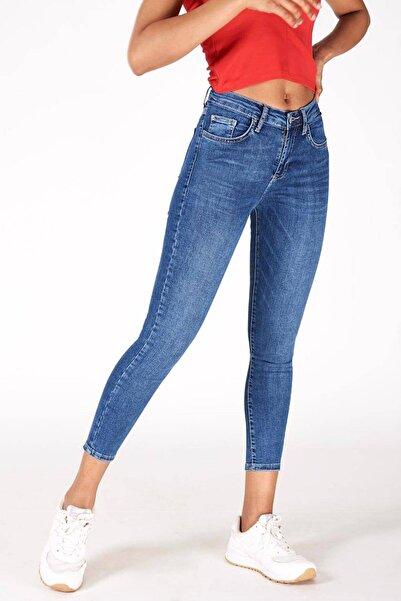 Addax Kadın Kot Rengi Orta Bel Pantolon Pn5799 - Pnr ADX-0000016979