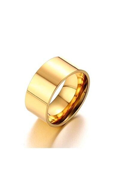 Chavin Unisex 10 mm. Geniş Gold Sarı Çelik Alyans Yüzük dt02