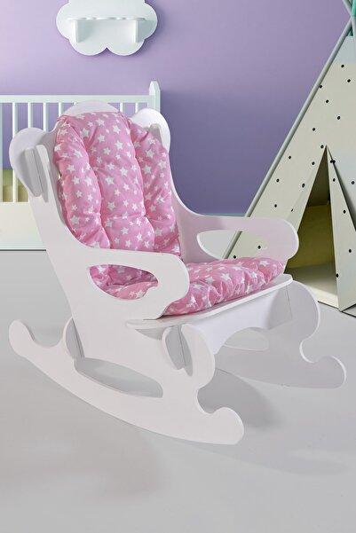 Aldın Aldın Pembe Yıldızlı Minder Sallanan Çocuk Sandalyesi