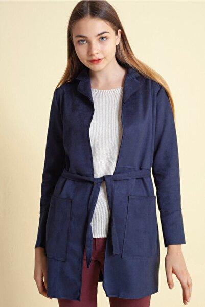 Fashion Friends Beli Kuşaklı Uzun Süet Ceket Lacivert