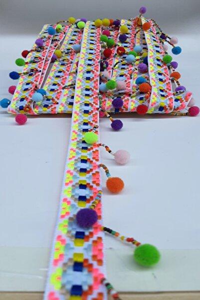 Hobigram Renkli Ponpon Boncuklu Saçak Şerit