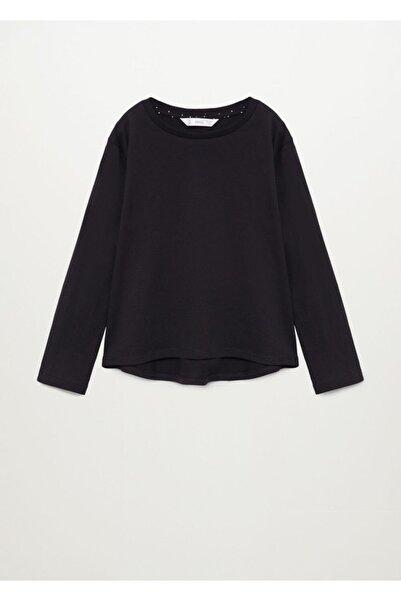 MANGO Kids Kız Çocuk Siyah Uzun Kollu Pamuklu Tişört