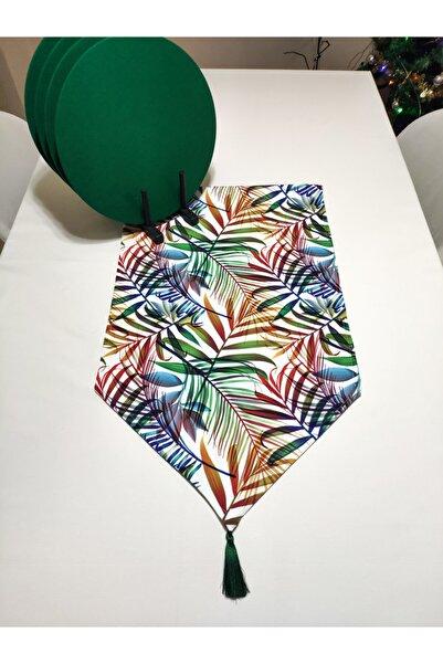 Viemso Renkli Tropikal Yaprak Desenli Runner Supla Set 6'lı