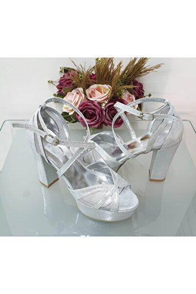 Almera's Shoes Kadın Gümüş Abiye Ayakkabı Almeras1068