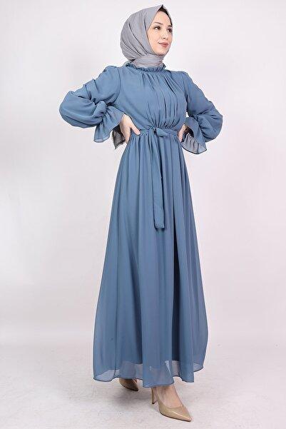 ENDERON Yakası Drapeli Şifon Tesettür Elbise