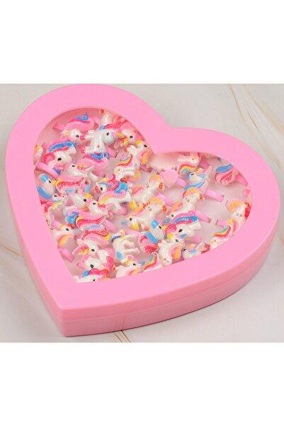 QUEEN AKSESUAR Kız Çocuk Pembe Unicorn Simli Parlak Kalpli Kutuda 36 Lı Yüzük Seti