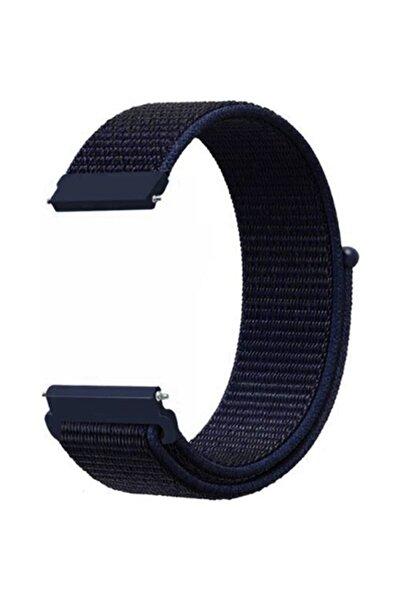 Mobicas Samsung Galaxy Watch Active 2 (20mm) Kumaş Desenli Çırtçırlı Kayış-kordon Lacivert