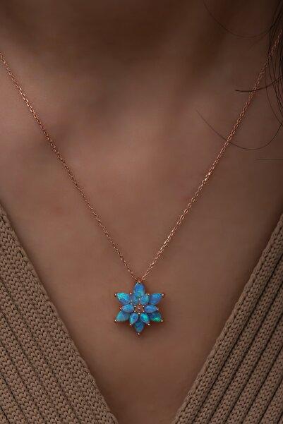 Papatya Silver Açık Mavi Opal Taşlı 925 Ayar Gümüş Lotus Kolye
