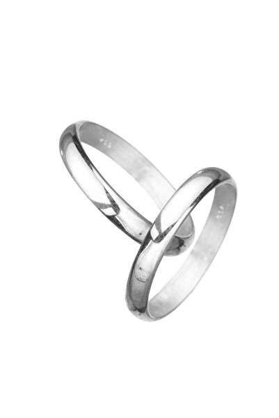 Çağrı Gümüş Çift Alyansı Sade Minimal Bombeli Eklem Gümüş Söz Nişan Yüzüğü 2 Adet 3-4 mm