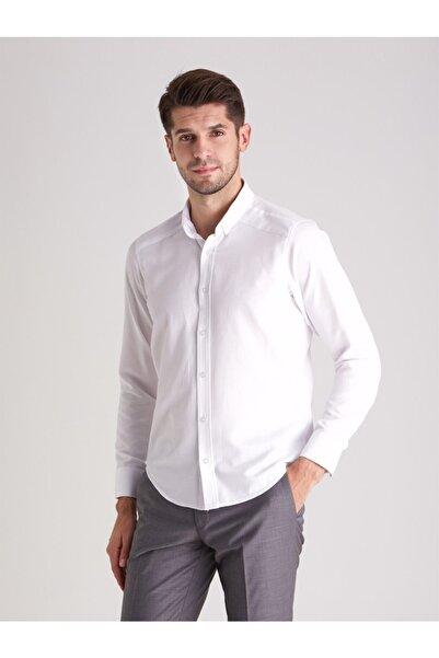 Dufy Beyaz Pamuk Karışımlı Erkek Gömlek - Slım Fıt