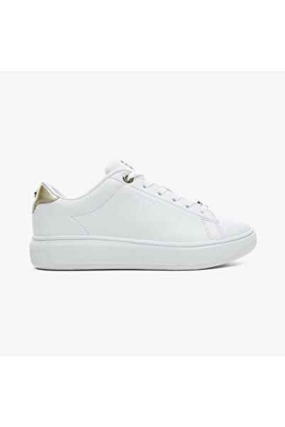 Tommy Hilfiger Kadın Beyaz Metallic Leaer Cupsole   Spor Ayakkabı