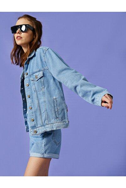 Koton Kadın Mavi Jean Ceket Pamuklu