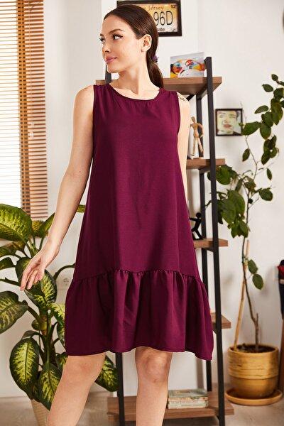 armonika Kadın Mürdüm Kolsuz Eteği Fırfırlı Elbise ARM-18Y001156