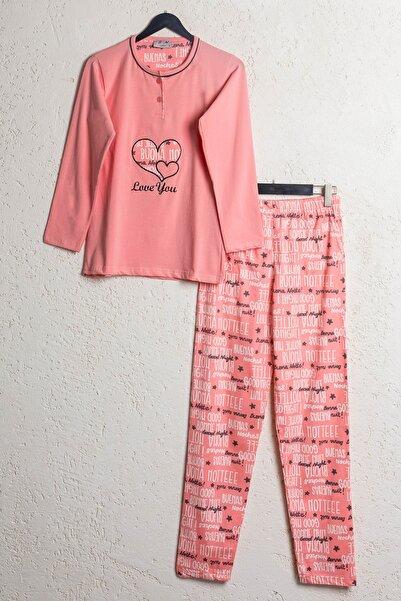 BSM Kadın Somon Pamuklu Kalp Desenli Mevsimlik Pijama Takımı