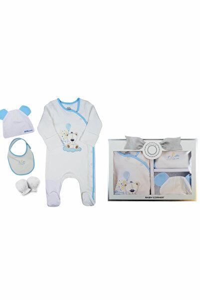 Baby Corner Ekru-Mavi  Erkek Bebek 4'Lü Set-Bear 8097