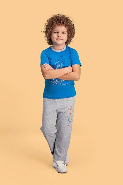 Mickey Mouse Mickey & Minnie Mouse Lisanslı Mavi Erkek Çocuk Pijama Takımı