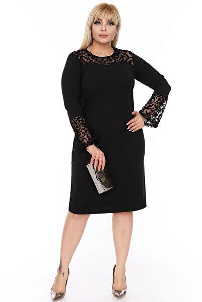 Moday Kadın İspanyol Kol Siyah Elbise 4D-69249 17884