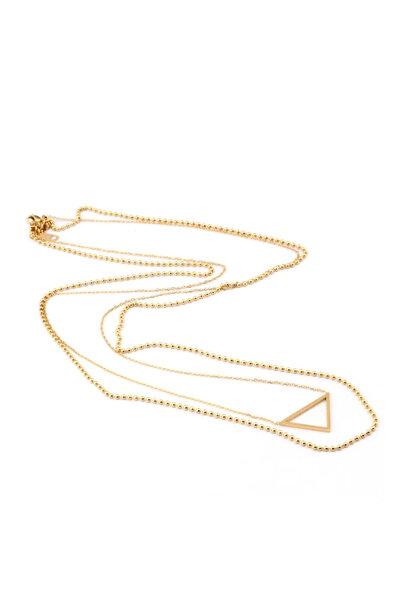 Welch Kadın Gold Üçgen Uçlu Boncuklu Çelik Kolye 6211-661