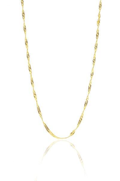 Söğütlü Silver Kadın Gümüş Altın Renkli Singapur Modeli 60 Cm Zincir SGTL8934